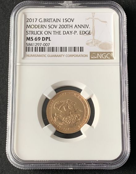 2017  Strike On The Day  Plain Edge Sovereign Scarce Only 1817 issued NGC MS69